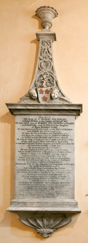 The memorial to Sir Robert Southwell in Henbury parish church. The marble was carved by Grindling Gibbons. (Kings Weston Action Group)