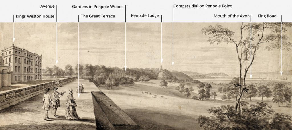 View from the Loggia towards Penpole Point, circa 1765, by an unknown artist. (Sir John Soane's Museum)