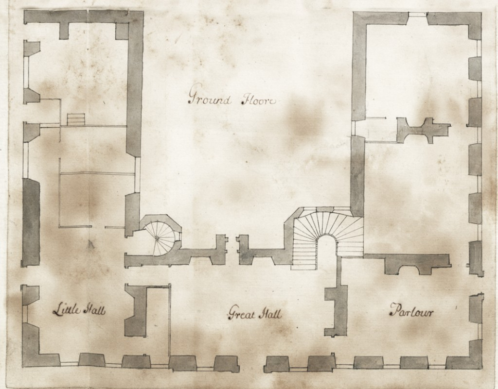 The ground floor plan of Kings Weston house before it was rebuilt in 1712. (Bristol Record Office)