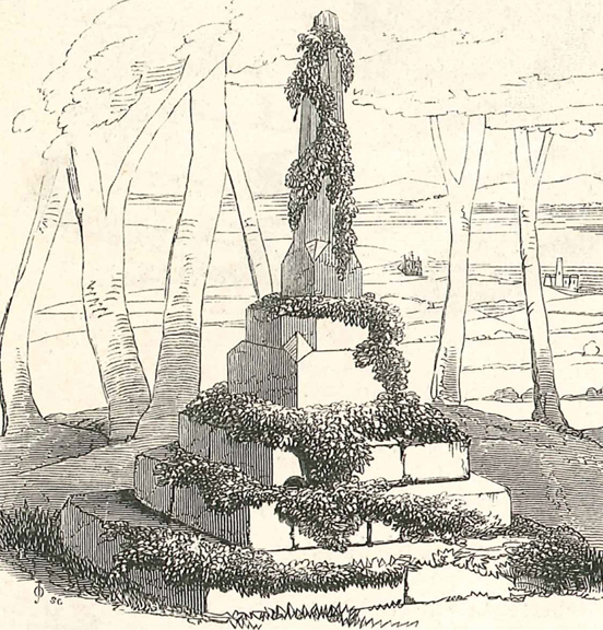 The remains of the medieval Bewy's Cross seen here when it was a garden feature in the 'view garden' and before it moved again to its present location in the 1950s.