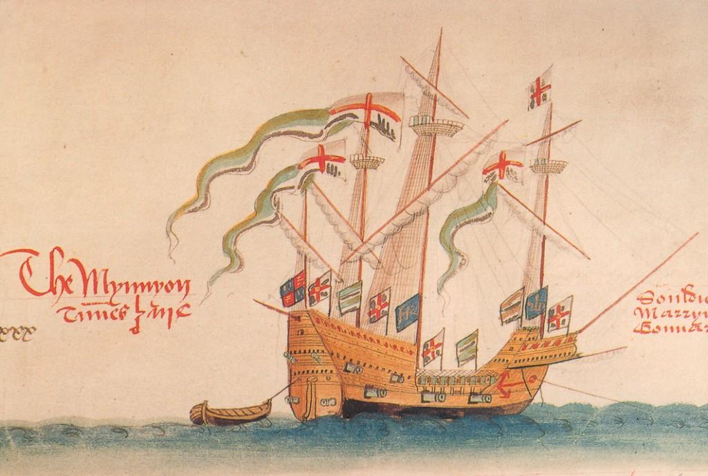 An illustration of Sir William's ship The Mynnyon
