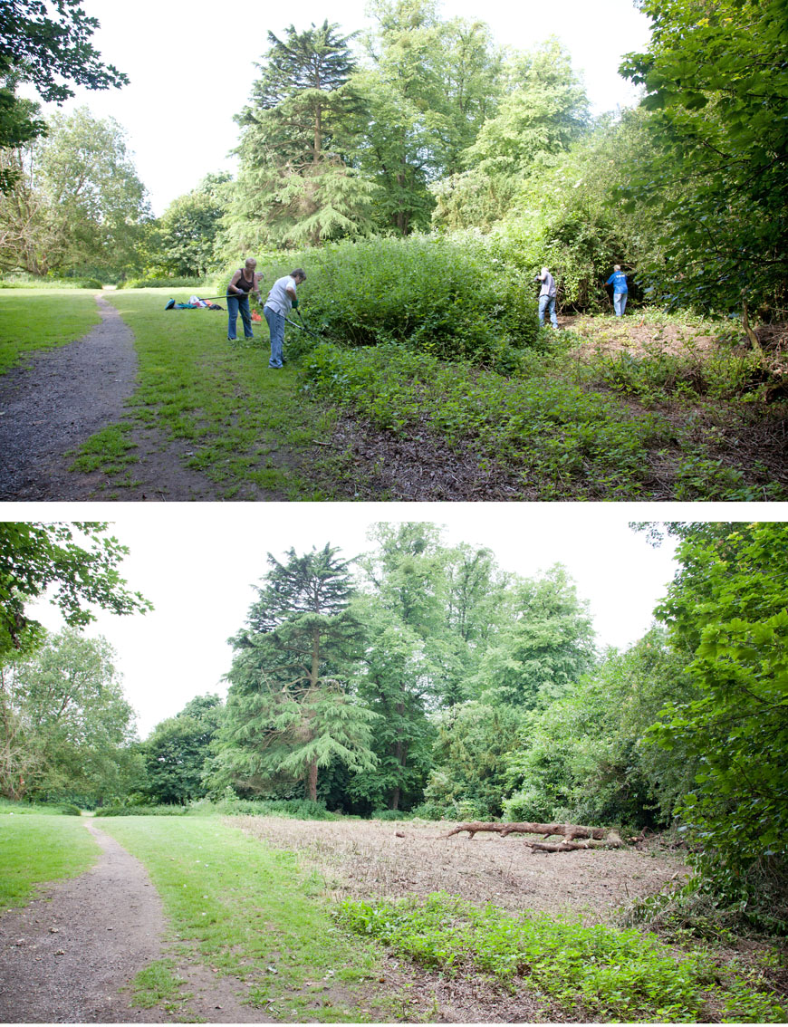 KWAG volunteers get to work at the start of the event. A before and after view looking from the main avenue back into the Circle and towards the avenue to Penpol
