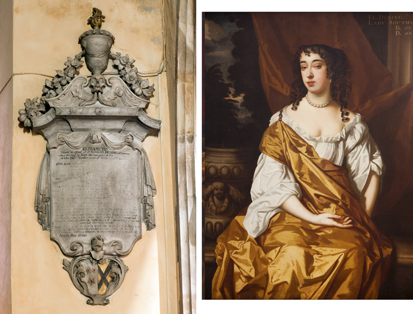 Grinling Gibbons' memorial to Elizabeth Southwell of Kings Weston and her son Rupert, both buried in Henbury parish church. On the right is her portrait which still hangs in Kings Weston House.