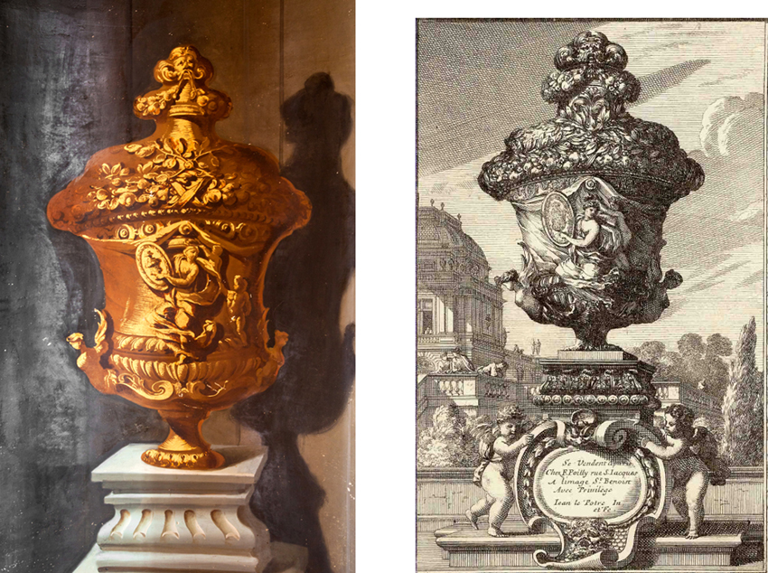 Left: The painted urn in the stair hall at Kings Weston, circa 1719. Right, the engraving of an imaginary urn by Lepautre