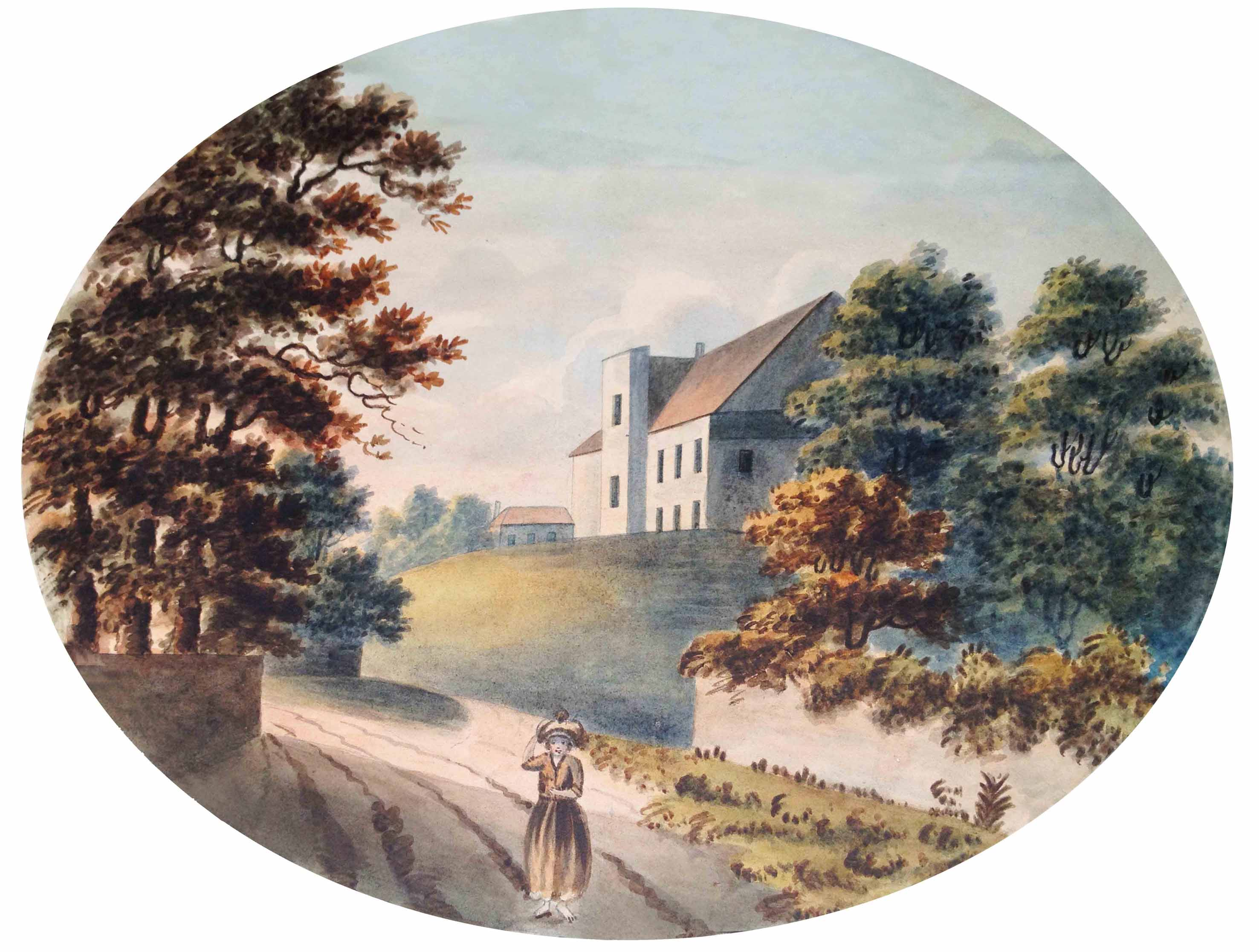 Kingsweston Inn seen from below and from the south, circa 1820.