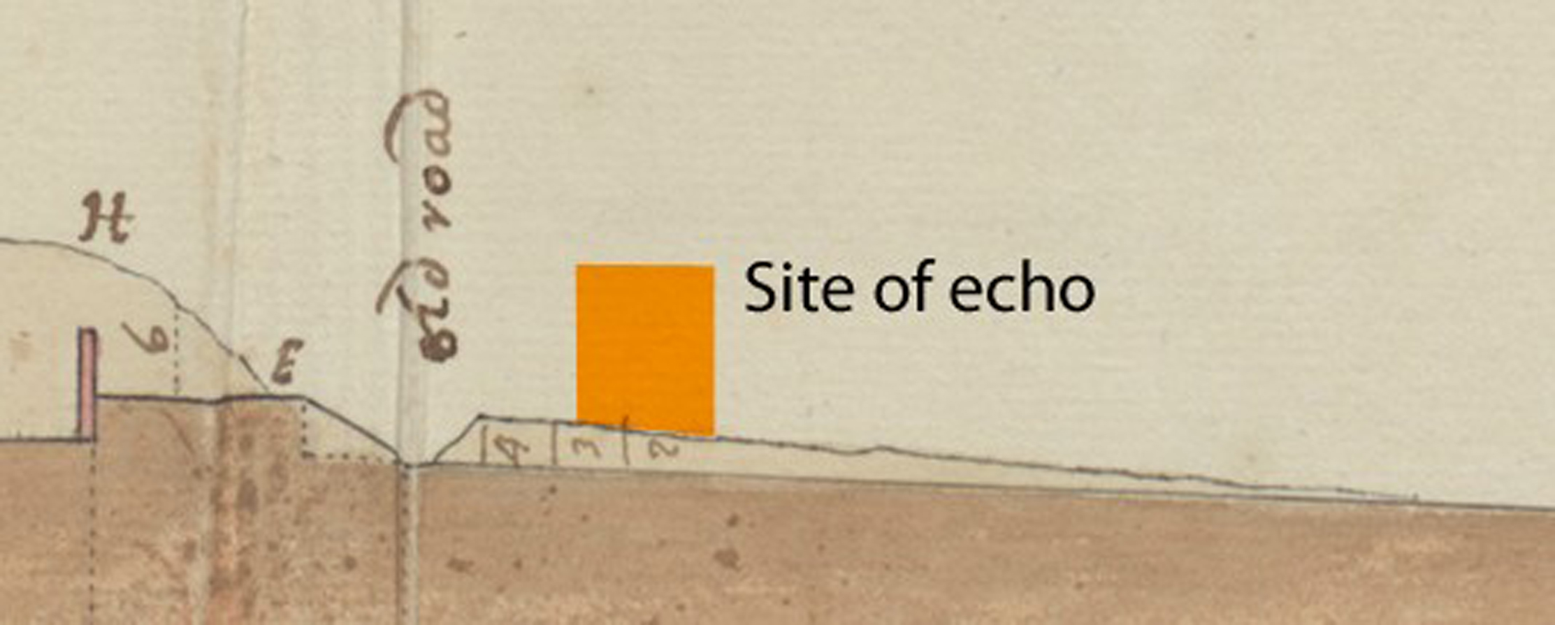 Detail of the 1720 section surveyed through the landscape and with the current position of the Echo added