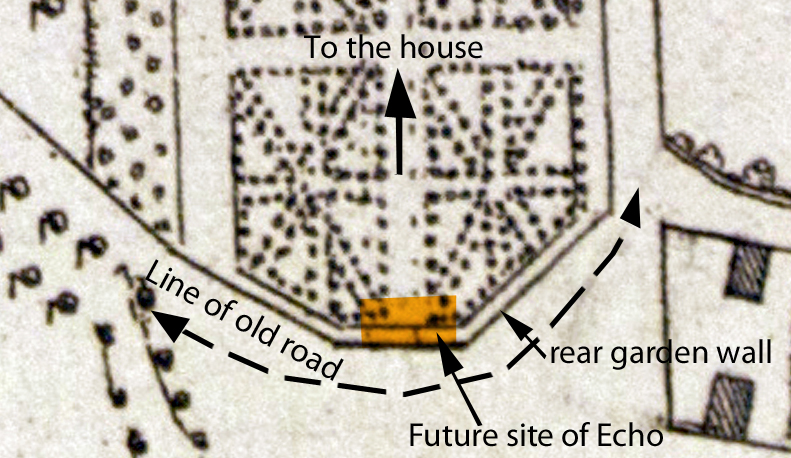 Detail of the 1720 Estate plan showing the location of features mentioned in the text