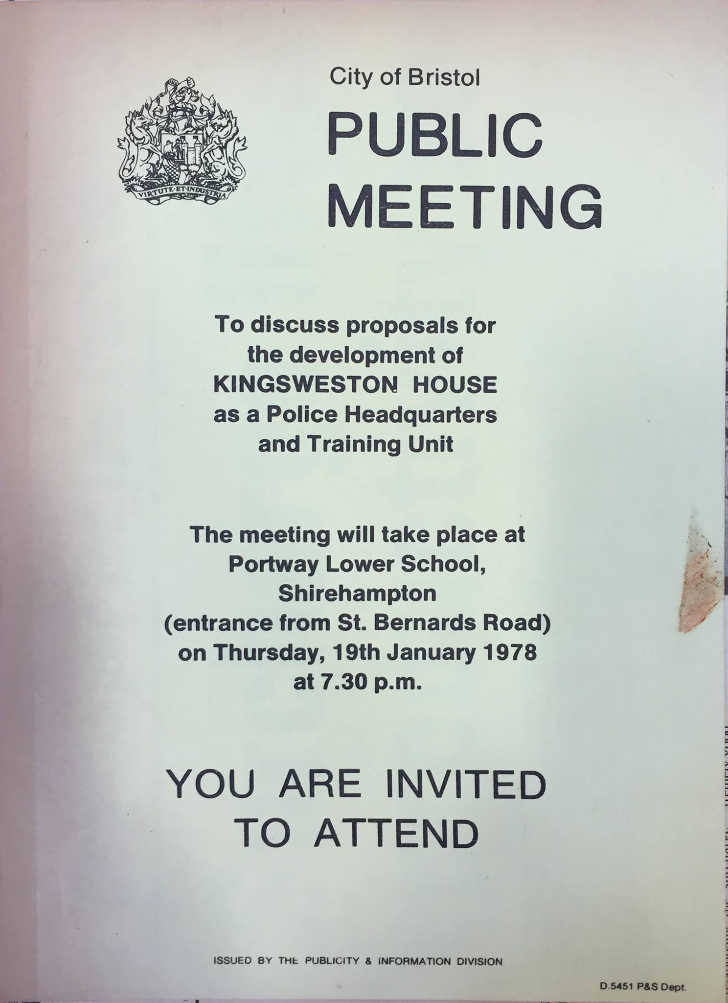 poster advertising the 1978 public meeting