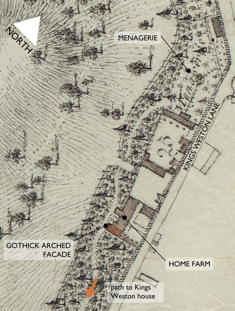 Detail of Issac Taylor's 1772 estate plan showing Home Farm.