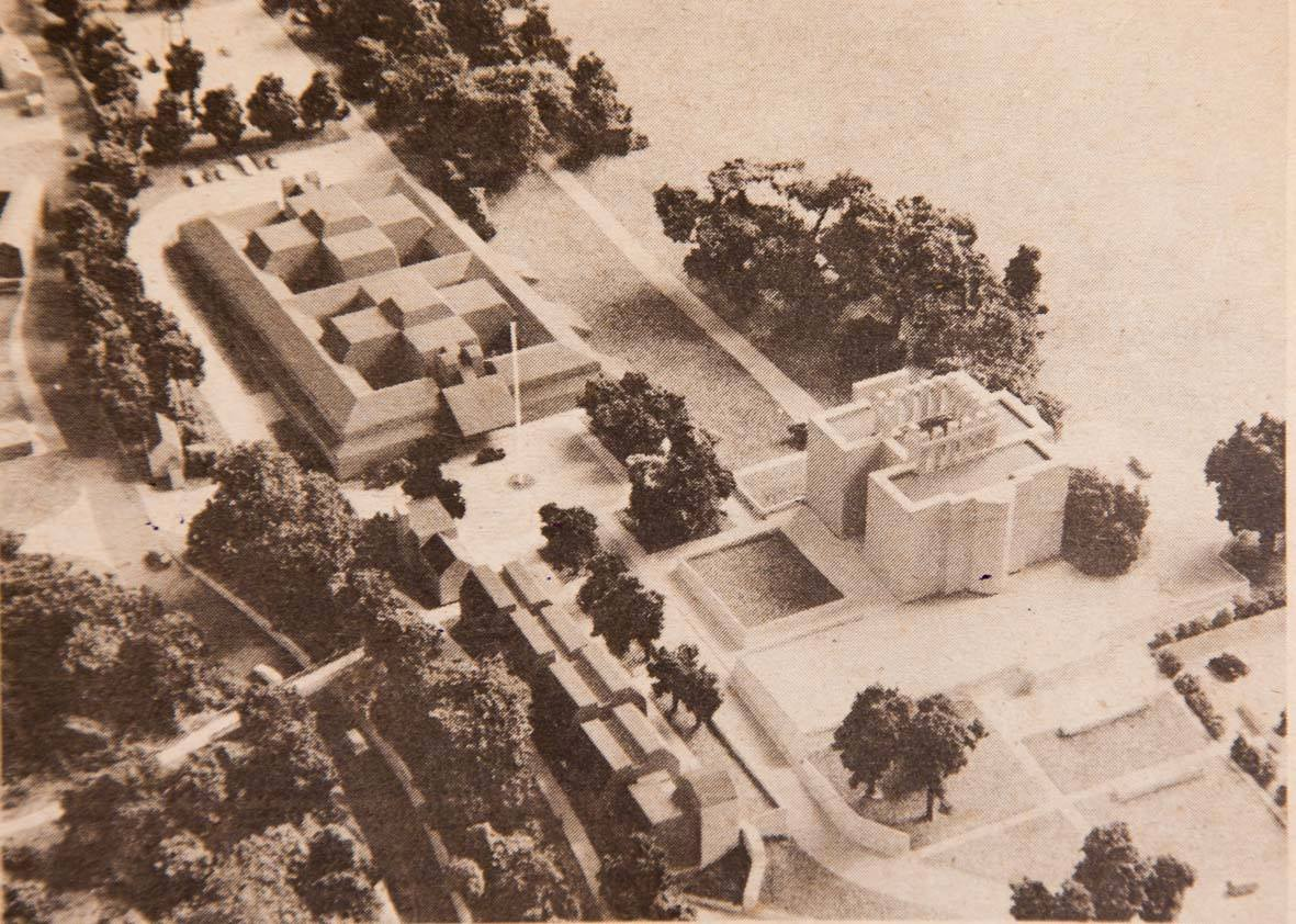 1977 model of the proposed police HQ looking south. Kings Weston house middle-right.
