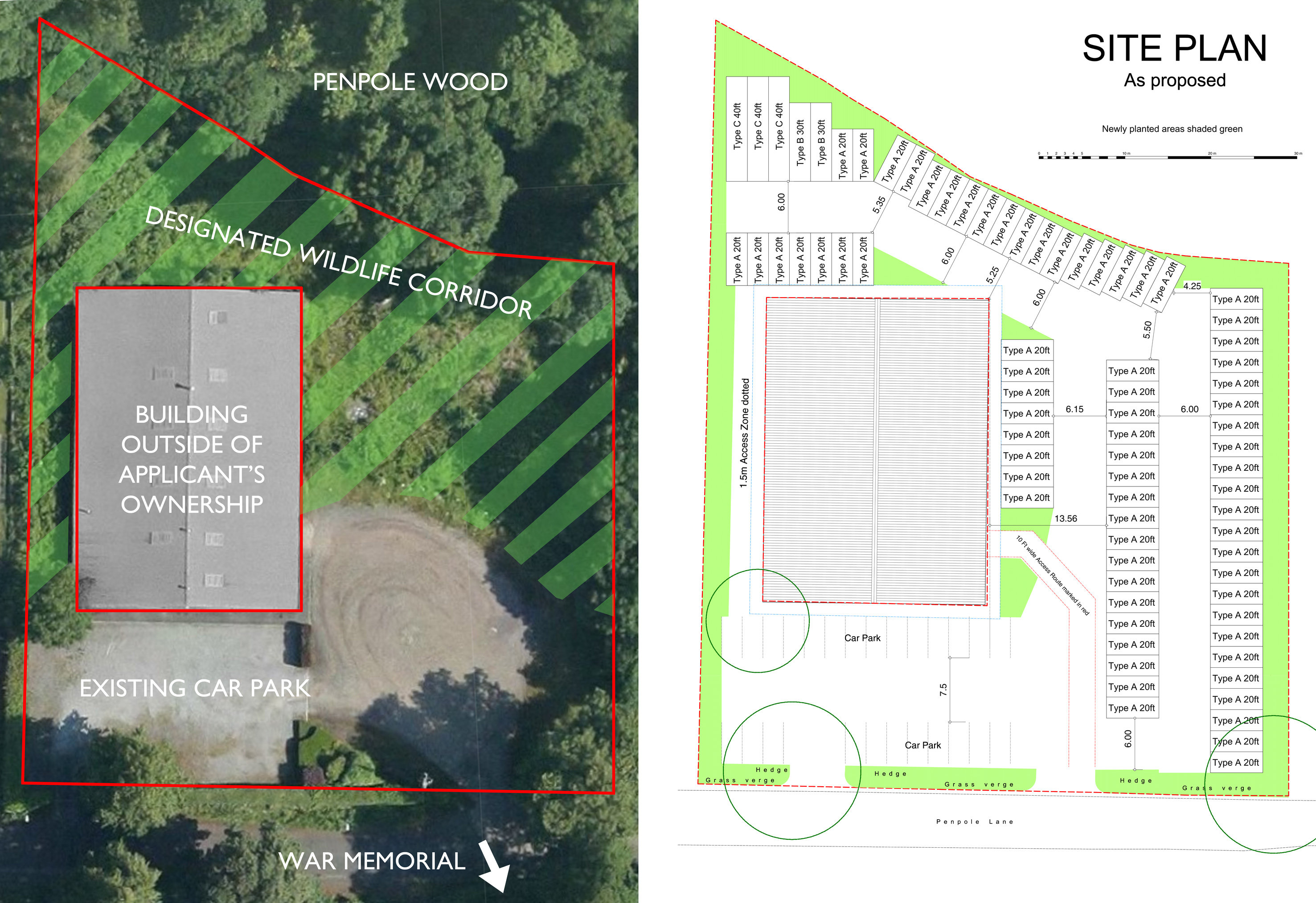 The existing site (left), and the proposed distribution of the 77 containers across the site (right). Click the image to view in more detail.