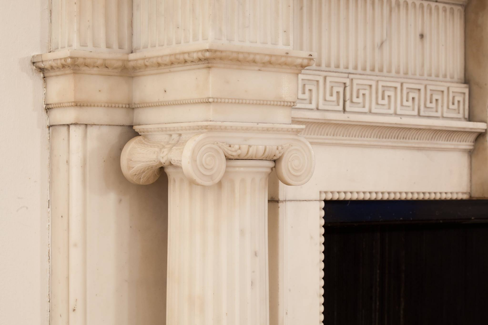 Central carving by Joseph Mazza Bonon, 1711 marble fireplace from kings weston house in orchard Street