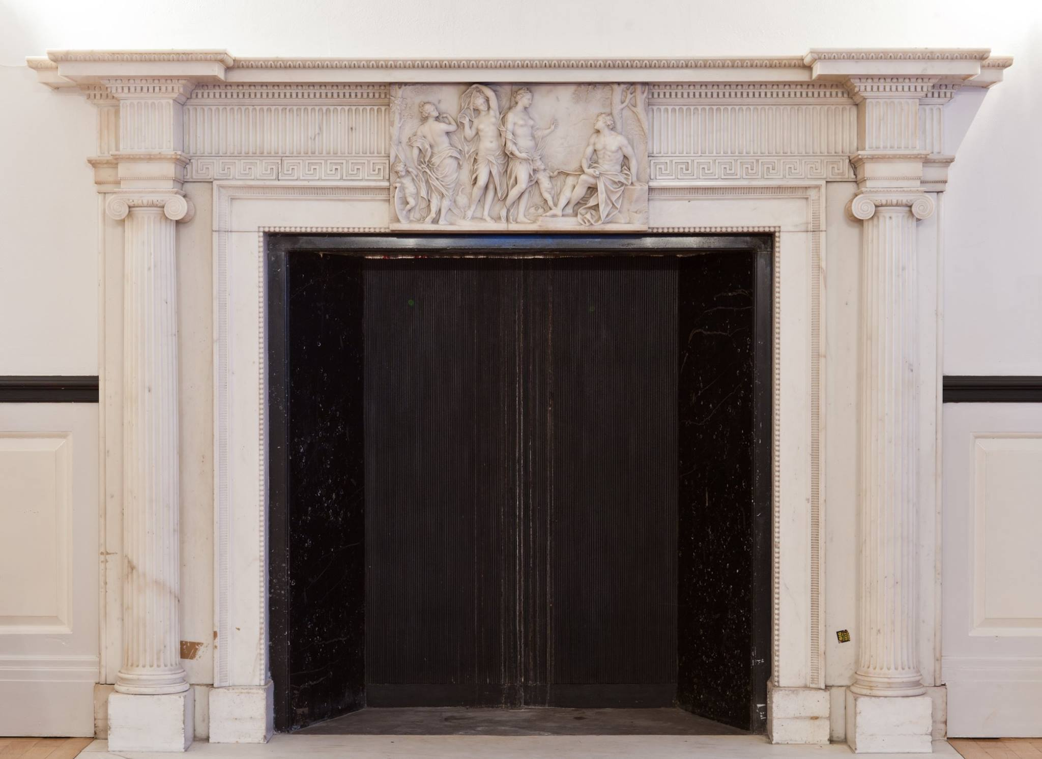 John Devall marble fire surround, formerly in Kings Weston House, now in Orchard Street, Bristol georgian fireplace marble neoclassical