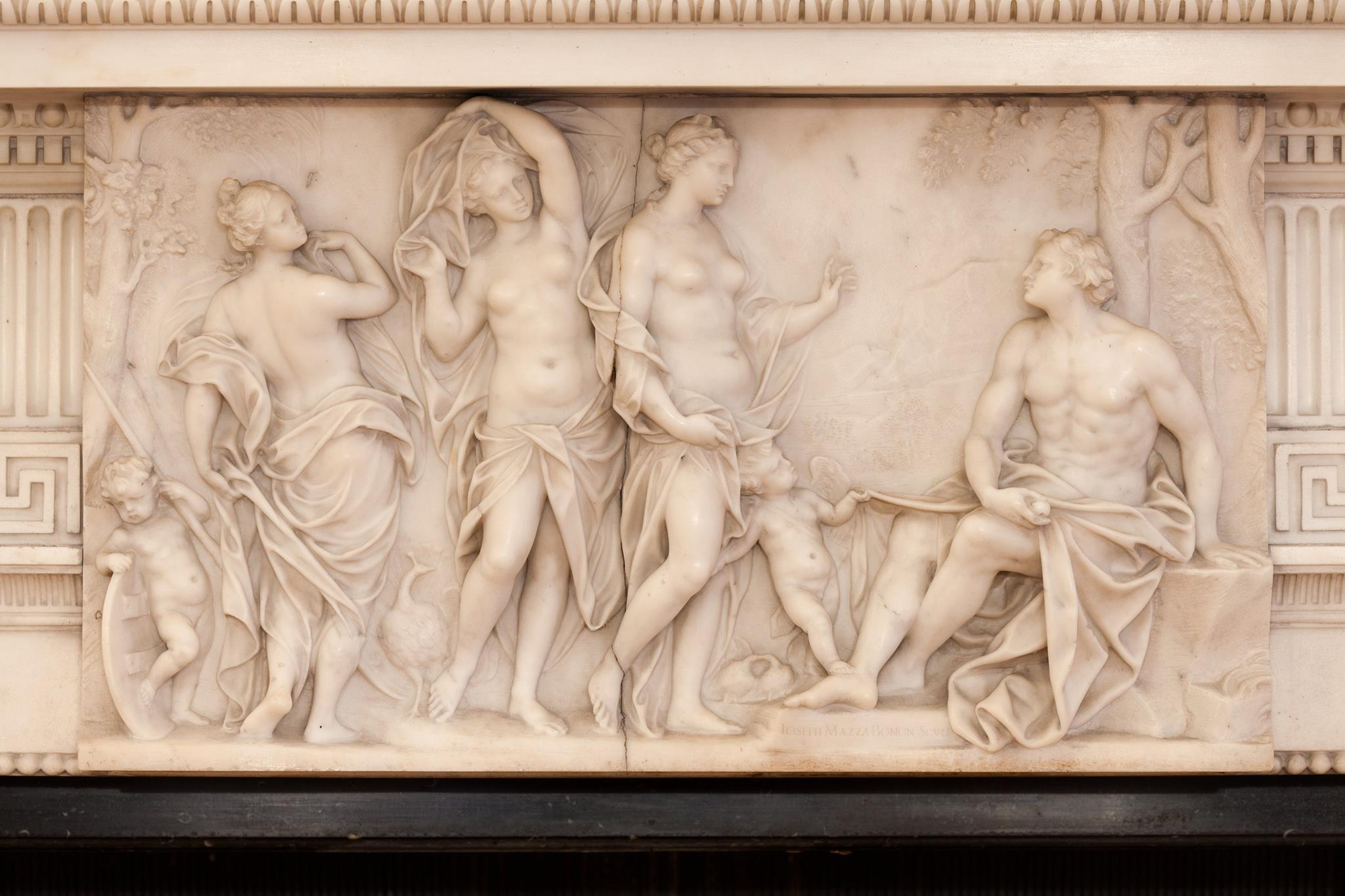 Central carving by Joseph Mazza Bonon, 1705 marble fireplace from kings weston house in orchard Street John Devall neoclassical
